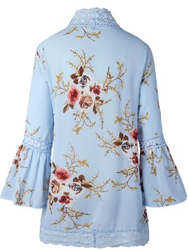 Floral Thin Wrapped Flare Sleeve Women's Cape