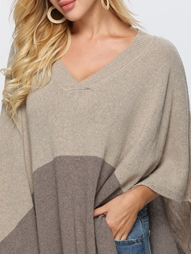 Fall Color Block V Neck Women's Knitted Cape