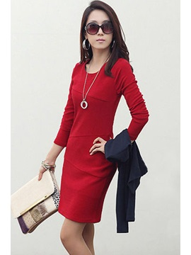 New Slim Split Joint Long Sleeves Sheath Dress