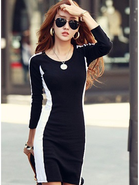 Lovely Slim Korean Style Two Mix Color Sheath Dress