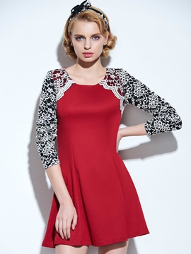 Premier Split Joint Round Neckline Lace Nipped Waists Day Dress