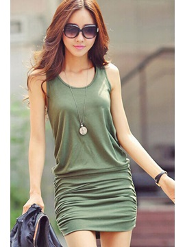 Green U-Neck Off-Shoulder Sheath Dress