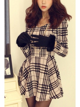 Plaid Long Sleeve Falbala Dress