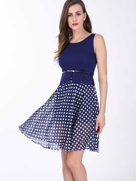 Polka Dots Patchwork Sleeveless Women's Skater Dress