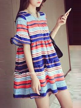 Color Block Flare Sleeve Women's Shift Dress