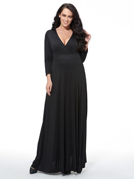 Long-Sleeve Over-Knee-Length Plus Size Dress