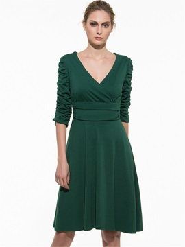 Solid 3/4 Sleeve Pleated Day Dress