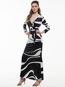 Gorgeous Zebra-stripe Maxi Dress with Belt
