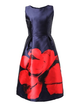 Vintage Floral Print Sleeveless Women's Skater Dress
