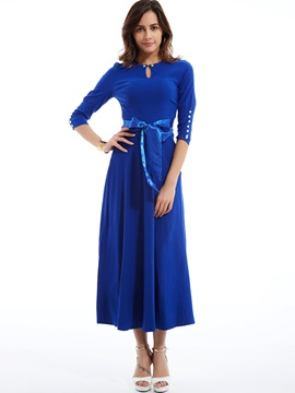Solid 3/4 Sleeve Lace-Up Women's Maxi Dress