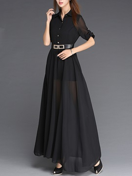 Solid Color Half Sleeve Maxi Dress