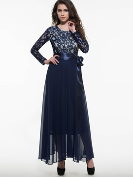 Patchwork Long Sleeve Belt Maxi Dress