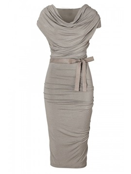 Solid Color Heap Collar Belt Work Bodycon Dress