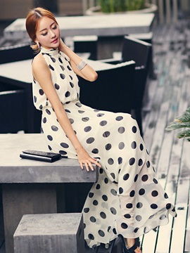 Chiffon White Polka Dots Sleeveless Women's Maxi Dress