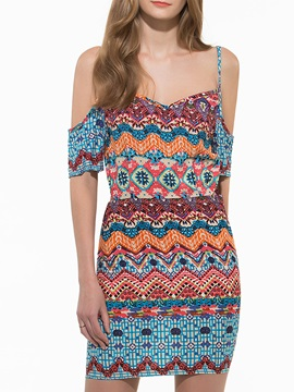 Chic Cold Shoulder Print Bodycon Dress