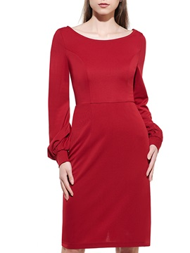 Plain Round Neck Long Sleeve Bodycon Dress