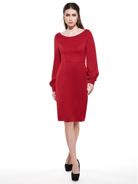 Plain Round Neck Long Sleeve Women's Bodycon Dress