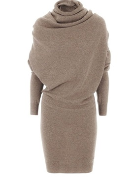 Turtleneck Solid Long Sleeve Sweater Dress