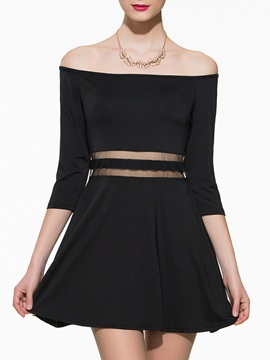 Patchwork Plain Off-the-Shoulder Skater Dress
