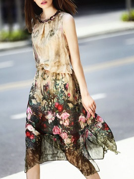 Tidebuy Floral Print Sleeveless Women's Skater Dress
