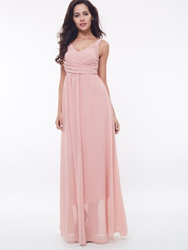 Plain V Sleeveless Empire Waist Maxi Dress