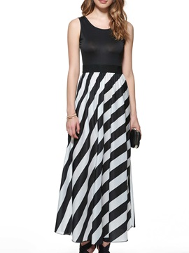 Stripe Patchwork Sleeveless  Dress