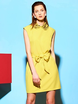 Sequins Lapel Yellow Day Dress with Belt