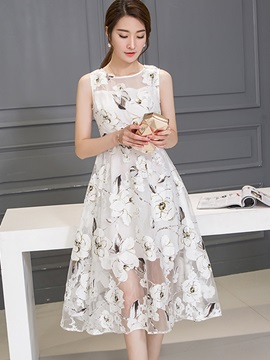 Ladylike Flower Print Sleeveless Day Dress
