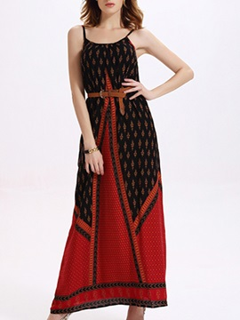 Sisjuly Spaghetti Empire Waist Ethnic Maxi Dress