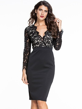 Chic V-Neck Lace  Bodycon Dress