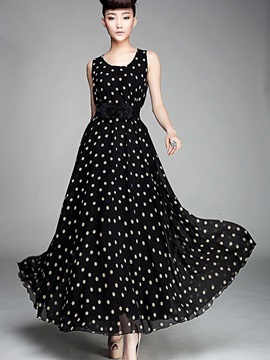 Polka Dots Sleeveless Empire Waist Maxi Dress