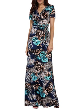 V-Neck Leopard Plaid Print Patchwork Maxi Dress