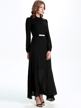 Sisjuly Plain Lapel Long Sleeve Maxi Dress