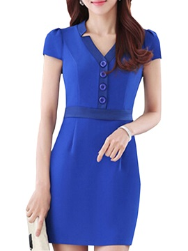 Plain V Neck Short Sleeve Work Dress