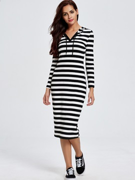 Sisjuly Stripe Hooded Casual Long Sleeve Dress