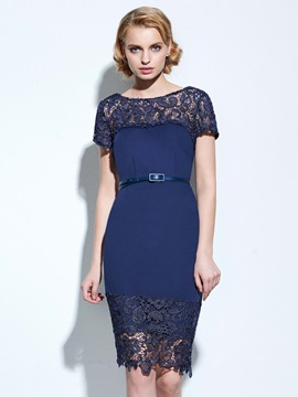 Embroidery Backless Patchwork Belt Day Dress