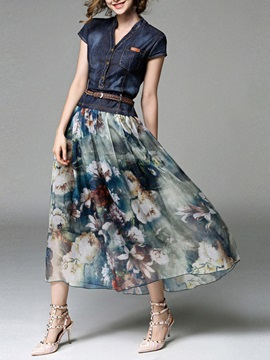 Denim Patchwork Cap Sleeve Women's Maxi Dress