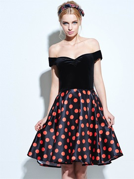Vintage Polka Dots Off-the-Shoulde Skater Dress