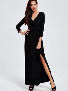 V-Neck Backless Split  Dress