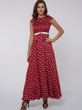 Heart Shaped Sleeveless Belt Maxi Dress