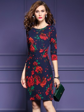 Chic Floral Print 3/4 Sleeve Bodycon Dress