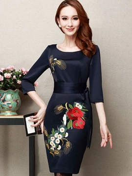 Floral Print Embroidery Lace-Up Bodycon Dress