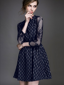 Stand Collar Nine Points Sleeve Patchwork Day Dress