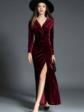 Solid V-Neck Long Sleeve Split Maxi Dress