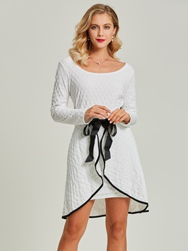 Round Neck Bowknot Asymmetrical Day Dress
