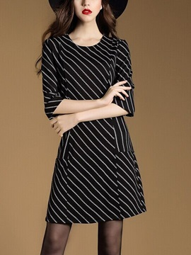 Vertical Striped 3/4 Sleeve Pocket Day Dress