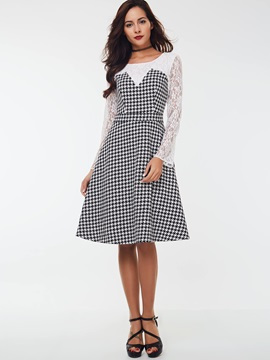 Houndstooth Lace Patchwork Day Dress