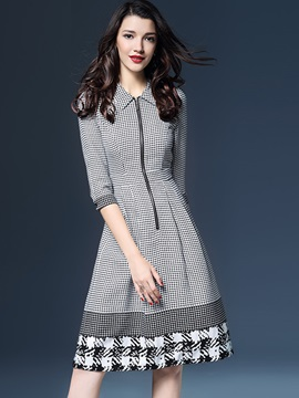Houndstooth Polo Neck 3/4 Sleeve Women's Skater Dress