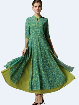 Floral Print Stand Collar Expansion Maxi Dress