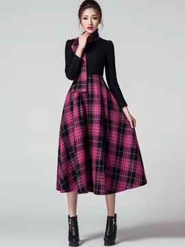 Plaid Round Neck Zipper Skater Dress
